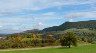 Im Mittelpunkt des Bildes steht ein langgezogener, bewaldeter Berg mit Burgruine. Links daneben schließt sich ein niedrigerer, kahler Berg an. Unterhalb dieser Erhebungen breitet sich eine hügelige, von Bäumen bestandene Grünlandschaft aus.