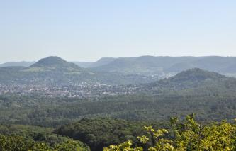 Blick über Baumwipfel auf Wälder, Siedlungen und einen niedrigen bewaldeten Berg links sowie, etwas zurückversetzt, einen höheren Berg rechts. Noch weiter zurück sind links flache bewaldete Höhenzüge erkennbar.
