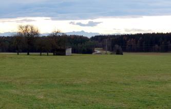 Das Bild zeigt eine ausgedehnte, ebene Grünlandfläche, begrenzt von Waldstreifen. Im fernen Hintergrund sind die Spitzen einer Bergkette erkennbar.
