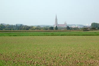 Blick in eine ebene Landschaft. Im Vordergrund befinden sich begrünte Felder, im Hintergrund ist eine Siedlung mit einer großen Kirche zu sehen.