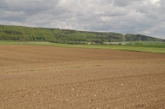 Blick über weite, in zwei Richtungen gefurchte braune Ackerflächen. Im Anschluss folgen bepflanzte Äcker sowie ein bewaldeter, nach rechts abfallender flacher Bergrücken.