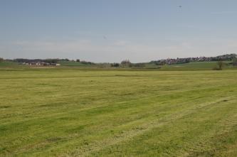 Blick auf eine kurz gemähte, flache Wiese. Im Hintergrund nach links und rechts ansteigende flache Hügel mit Besiedlung.