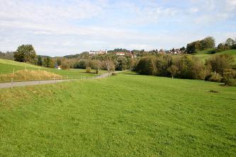 Blick über eine mit Bäumen begrenzte Wiesenlandschaft, die nach links vorne abfällt, nach rechts und links oben jedoch ansteigt. Im Hintergrund rechts ist auf einem bewaldeten Rücken eine Kirche erkennbar.