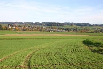 Blick auf eine flachhügelige, begrünte Ackerlandschaft mit Wiesen, Siedlungen und bewaldeten Hügeln im Hintergrund.
