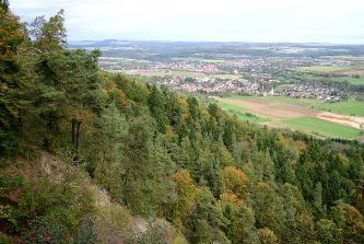 Blick von einem bewaldeten Hügel auf zwei Siedlungen und Felder.