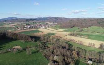 Blick über eine wellige Landschaft mit Wiesen und Feldern. Im Vordergrund sowie rechts und links verteilen sich Baumgruppen, im Hintergrund links liegt eine Siedlung. Den Horizont bilden bewaldete Berge.
