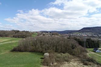 Unter einem wolkigen Himmel breitet sich eine hügelige, im Hintergrund von Siedlungen und bewaldeten Bergen gesäumte Landschaft aus. Im Vordergrund sind Wiesen sowie eine Waldinsel zu sehen.