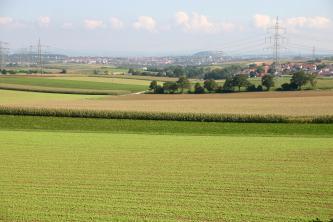 Das Bild zeigt zahlreiche, leicht zu den Bildrändern ansteigende Ackerflächen mit unterschiedlichen Anbaustufen. Im Hintergrund ist eine größere Siedlung zu erkennen sowie ein halbrund geformter, teilweise bewaldeter Berg.