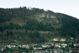 Über einer Häuserreihe erhebt sich ein steiler, nach oben hin felsiger Hang. Unterhalb der gelblich grauen Felsen sind Schutthalden zu erkennen. Der restliche Hang ist dicht bewaldet.