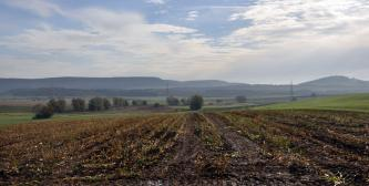 Das Bild zeigt einen abgeernteten Stoppelacker, an den sich eine Baumbestandene, links vermoorte Senke anschließt. Rechts und im Hintergrund sind weitere Nutzflächen sowie bewaldete Hügel und Höhenzüge erkennbar.