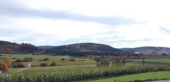 Der Blick geht über eine ebene, durch einen Damm rechts getrennte Landschaft mit Maisfeldern im Vordergrund sowie Grünflächen mit Gebüsch im Mittelgrund. Dahinter reihen sich bewaldete Erhebungen aneinander.