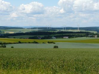 Das Bild zeigt mehrere, im Mittelgrund in einer Mulde liegende begrünte Ackerflächen. Im Hintergrund ansteigende, bewaldete Hänge lassen Platz für Windkrafträder.
