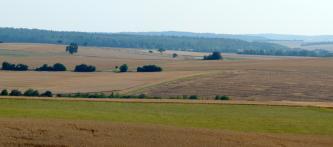 Das Bild zeigt verschiedene, im Vordergrund flache, im Mittelgrund wellige Ackerflächen. Im Hintergrund schließen sich bewaldete Hänge an.