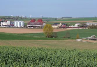 Auf diesem Bild reihen sich bepflanzte und nur schwach begrünte Ackerflächen hintereinander. In der Mitte findet sich eine Vertiefung durch einen Bach oder Fluss. Im Hintergrund stehen landwirtschaftliche Gebäude; dahinter liegen flache Hügel.