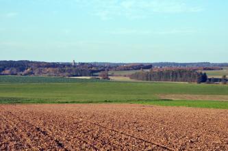 Auf einen rötlich braunen Acker im Vordergrund des Bildes folgen leicht ansteigende, begrünte Flächen. Im Hintergrund sind verschiedene Waldstreifen erkennbar.
