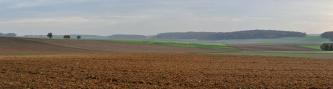 Panoramabild einer flachwelligen, nach links hin ansteigenden Ackerlandschaft mit flacher, rotbrauner Ackerfläche im Vordergrund und flachen, bewaldeten Hügeln im Hintergrund.