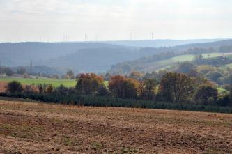 Ein zum Mittelgrund hin abfallender, rostbrauner Acker erstreckt sich im Vordergrund des Bildes. Nach einem Baumstreifen erhebt sich rechts dahinter ein teilweise bewaldeter Hang. Links sowie im Hintergrund staffeln sich bewaldete Höhen.