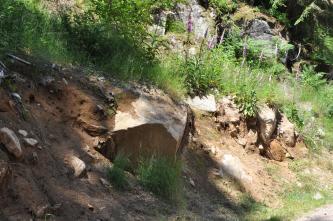 Das Bild zeigt einen nach links ansteigenden Hang, der im unteren Teil von größeren Felsbrocken durchsetzt ist. Braunes Bodenmaterial hat die Felsen teilweise überdeckt. Oberhalb der Felsen ist Pflanzenbewuchs und dahinter weiteres Felsgestein erkennbar.
