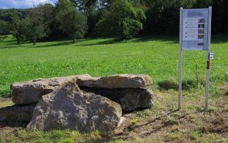 Im Vordergrund dieses Bildes liegen graubraune Gesteinsblöcke teils flach aufeinander, teils aufrecht angelehnt. Rechts davon steht eine bebilderte Hinweistafel. Im Hintergrund sind eine leicht ansteigende Wiese sowie mehrere Bäume zu sehen.