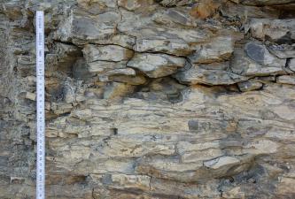 Teilansicht einer bräunlich grauen Gesteinswand. Im oberen Teil stehen teils lose wirkende Blöcke etwas hervor, zudem sind Risse und Vertiefungen vorhanden. Nach unten wirkt das Gestein fester verbacken. Links ist ein Zollstock angelehnt.
