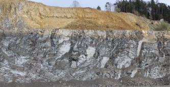 Blick auf zwei hintereinanderliegende Steinbruchwände. Die vordere ist blockhaft gefurcht und weißlich grau, die hintere, die nach rechts abfällt und dort bewaldet ist, zeigt bräunliche Farben.