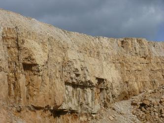 Teilansicht einer Steinbruchwand. Das rötlich braune bis gelbliche Gestein liegt in dicken Bänken auf. Unterhalb der Bildmitte ist Gestein herausgebrochen. Rechts unten liegt Schutt.