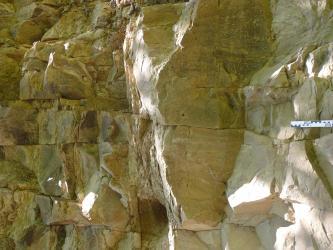 Steinbruchaufschluss von hellbeigegrauem, massigem Gestein, welches stark geklüftet ist. Der Aufschluss ist etwa 2,5 m hoch, an der rechten Biildseite befindet sich ein Maßstab.