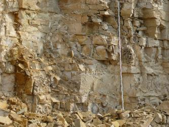 Detailaufnahme von hellen Bankkalksteinen mit etwas dunkleren Mergelsteinlagen. In der rechten Bildhälfte befindet sich ein 3 Meter hoher Maßstab. Vor der Wand liegen Gerölle.