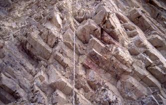 Aufschluss aus dunkelrotem, leicht lilanem Gestein, welches in Form von vielen Säulen, die nach links gekippt sind, ansteht.
