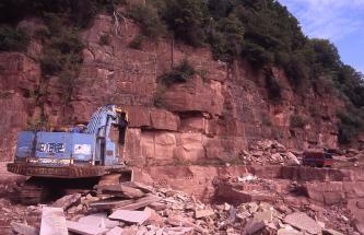Blick auf eine mehrere Meter hohe Abbauwand eines Steinbruchs. Das Gestein ist hellrötlich, dickbankig und weitständig geklüftet. Links im Vordergrund befindet sich ein blauer Bagger. Vor der Wand liegen einige Blöcke, über der Wand wachsen Büsche.