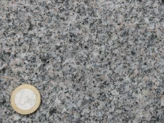 Detailaufnahme eines gräulichen Gesteins. Neben den häufigen grauen Kristallen, finden sich auch etwas hellere und kleine schwarze Kristalle im Gestein. Links unten befindet sich eine 1-Euro-Münze als Maßstab.