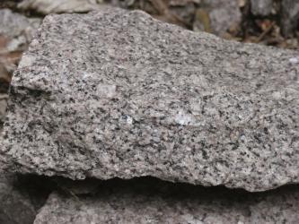 Nahaufnahme eines länglichen Steinbrockens. In die hellgraue Grundfarbe mischen sich rosa, weiße und schwarze Sprenkel.
