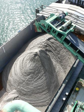 Man sieht, von oben betrachtet, zwei Hügel feinen Sand. Rechts oben Details eines Förderbandes, links oben ein Gewässer.