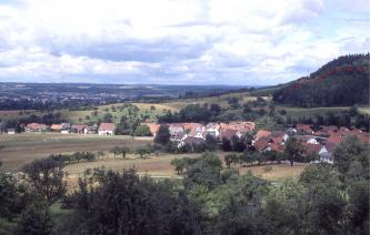 Blick auf ein Dorf mit Wiesen und einigen Obstbäumen im Vordergrund. Am rechten Bildrand erhebt sich hinter den Häusern ein bewaldeter Hügel.