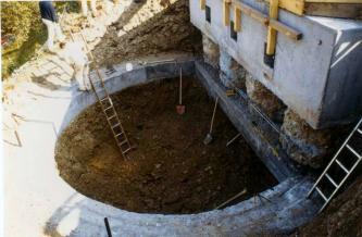 Zu sehen ist eine halbkreisförmige Baugrube, in der sich zwei Spaten, eine Leiter und braunes Lockermaterial befinden. Rechts befindet sich eine Betonwand.