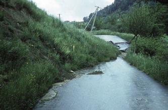 Mittig durch das Bild verläuft eine Straße, welche von links von einer Hangrutschung überfahren und zerstört wurde. Der Hang links ist mit Gras bewachsen, rechts neben der Straße befindet sich auch Wiese.