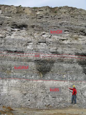 Zu sehen ist eine graue Felswand, die sich horizontal durch unterschiedliche Grautöne gliedert. Am Fuß der Felswand steht eine Person mit Schutzhelm und Maßstab. Die einzelnen Schichten sind durch gestrichelte Linien und Beschriftungen unterschieden.