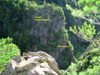 Man sieht einen Felsen, unterhalb dem eine Straße verläuft. Der Felsen ist an einigen Stellen von Bäumen bewachsen. In Gelb eingezeichnet ist auf dem Bild eine vermutliche Abbruchstelle und etwas weiter unterhalb eine Hirschstatue.