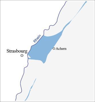 Blick auf den vergrößerten Ausschnitt einer Übersichtskarte mit dem Gebiet zwischen Straßburg und Achern. Farbig dargestellt ist hier die Verbreitung des Oberjuras in keltischer Fazies.