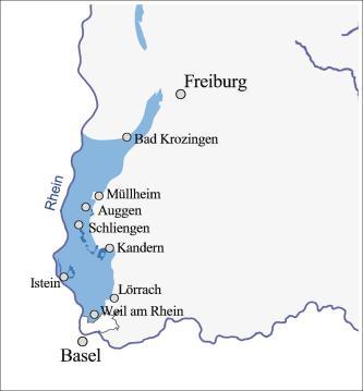 Blick auf den vergößerten Ausschnitt einer Übersichtskarte mit dem Gebiet des südlichen Oberrheingrabens zwischen Basel und Freiburg. Farbig dargestellt ist hier die Verbreitung des Oberjuras in keltischer Fazies.