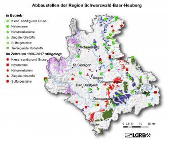 Gezeigt wird hier eine Reliefkarte der Region Schwarzwald-Baar-Heuberg mit farbig markierten Abbaustellen von Steine- und Erdenvorkommen, die in Betrieb befindlich oder seit 1986 stillgelegt sind.